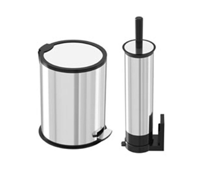 5 liter stainless steel pedal trash with toilet brush – akaelectric
